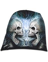 Spiral Bonnet pour homme en coton Motif Flaming Spine Noir