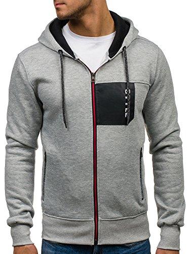 BOLF Herren Sweatshirt mit Kapuze Basic J.STYLE J17 Anthrazit M [1A1]
