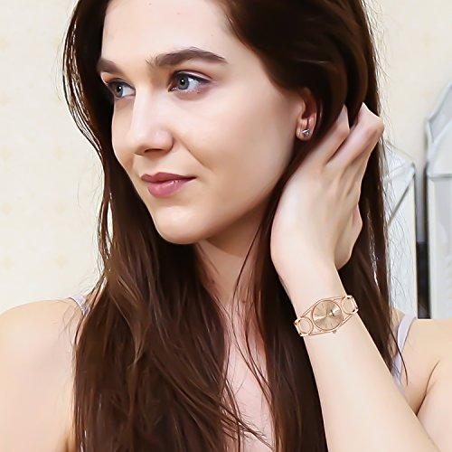 ETEVON Frauen Quarz Rose Gold Armbanduhr mit Runden Hohlen Armband Rostfreier Stahl Wasserdicht, Mode Luxus Verkleiden Armbanduhren für Damen - 5