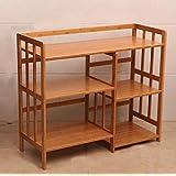 Pasamanos Muebles Bamboo Estante para microondas Estantería de madera maciza multifunción Estantería alargada Múltiples capas Mueble armario-WXP