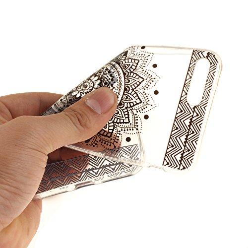 """Apple iPhone 7 Plus 5.5"""" hülle,MCHSHOP Ultra Slim Skin Gel TPU hülle weiche Silicone Silikon Schutzhülle Case für Apple iPhone 7 Plus 5.5"""" - 1 Kostenlose Stylus (Halbe weiße Blüten) Schwarze Mandala Blume"""