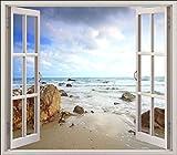Wandtattoo Fenster Deko Strand Meer OEM 5425, 120x105cm