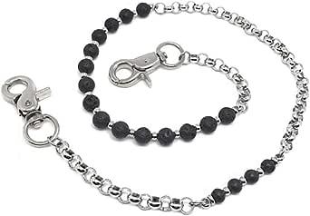 KUSTOM FACTORY - Catena a portafoglio personalizzata, con perla nera, pietra lavica