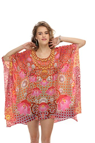 D G PRINTS FAB - Copricostume -  donna Floral Pink