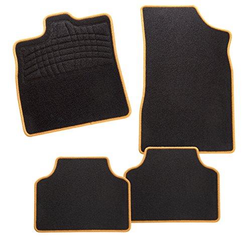 CarFashion 248004 Calypso Orange AS1 | Auto Fussmatte in schwarz | Automatten | schwarzer Trittschutz | orange Hochglanz Kettelung | Auto Fussmatten Set ohne Mattenhalter