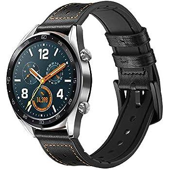 Leafboat Compatible Huawei Watch GT Bracelet,22 mm Cuir Souple avec Insert en Silicium Bracelet