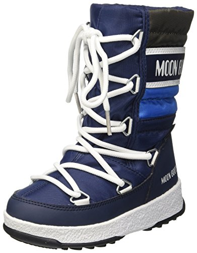Moon Boot Unisex-Kinder We Quilted Jr Wp Schneestiefel, Mehrfarbig (Blu Navy/Royal/Argento 002), 29 EU