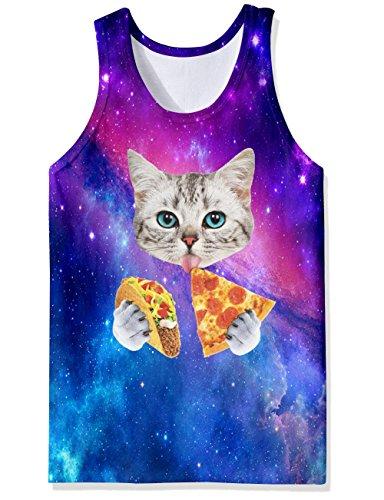 Chicolife 3D Grafik Drucken Lustige Ärmellose T-Shirts Muster Realistische Weste Underwaist Gym Tanktops für Herren Pizza Cat