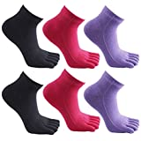 Kingentle 6 Paar Zehensocken Damen Bunte Ringel Sport laufende Toe socks