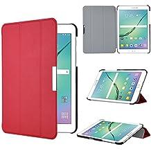 Samsung Galaxy Tab S2 SM-T710N 8.0-Inch Funda Case - IVSO Slim Smart Cover Funda Protectora de Cuero PU para Samsung Galaxy Tab S2 SM-T710N 8.0-Inch Tablet (Rojo)