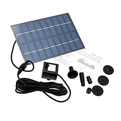 SIEGES 1.8W Solar Power Panel Submersible Water Pump Kits for Lawn Garden Pond Fountain Pool Water Cycle , Pond Fountain… 7
