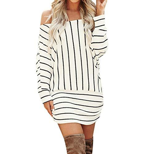 Up Girl Kostüm Pin 80er Jahre - iHENGH Damen Frühling Sommer Rock Bequem Lässig Mode Kleider Frauen Röcke Langarm Sexy Schulterfrei Kleid Gestreifte Partykleider(Weiß, 2XL)