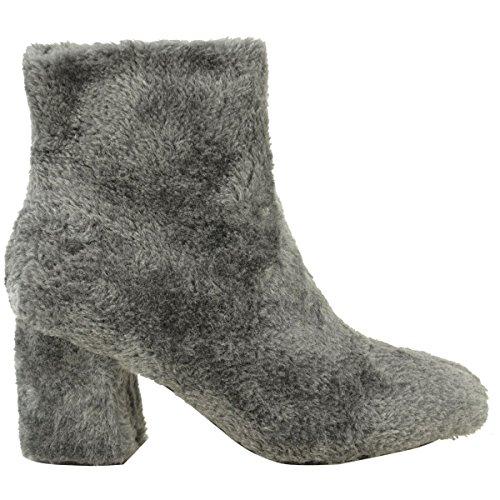 Damen Flach Mid Blockabsatz Kunst Pelzig Haarig Stiefeletten Warm Winter Größe Grau Kunstpelz