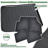 AME Set - Auto-Gummimatten, Geruch-vermindert und passgenau + Auto-Gummiwanne Kofferraummatte für den unteren Laderaum/Kofferraum 546115ET+233109KW