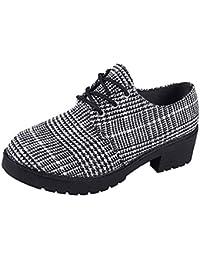 Zapatos planos bajos casual mujer,Sonnena ❤️ Zapatos de punta redonda de mujer de moda Botín Botas de cuero con fondo de tobillo Zapatos Casuals con cordones Botas cortas