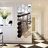 12 Stück Spiegelfliesen Selbstklebend, VIGORFUN Hexagon Spiegel Wandspiegel zum Wanddekoration (12 Stück, Silber)