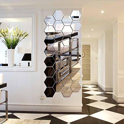 12 Stück Spiegelfliesen Selbstklebend, VIGORFUN Hexagon Spiegel Wandspiegel zum Wanddekoration (12 Stück, Silber) - Hexagon Spiegel