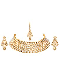 JFL - Traditional Ethnic One Gram Gold Plated Polki Diamond Designer Necklace Set With Earrings For Women & Girls