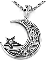 d436e5e41983 iMECTALII Tribal, Herren Damen Edelstahl Vintage Halbmond Mond Stern  Anhänger mit Zirkonia - Halskette -