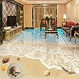 Fushoulu Benutzerdefinierte 3D Boden Wandbild Tapete Pvc Selbstklebende Wasserdichte Küste Strand Landschaft 3D Bodenfliesen Badezimmer Wohnzimmer Wandbilder-400X280Cm