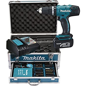 makita hp457dwe10 trapano avvitatore con percussione 2x18 v 1 5 ah li 74 accessori valigetta. Black Bedroom Furniture Sets. Home Design Ideas