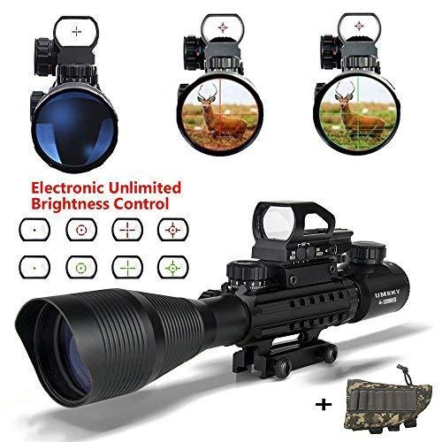 Gewehrzielfernrohre,UMsky 4-12 x 50 Rote und grüne Punkt mit Montage Fadenkreuz taktisch Reflexion holographische optische Sichtung Optik Jagd Luft Zielfernrohr