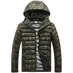 Mymyguoe Jacke Herren Sweatshirt Der Winter-beiläufige Camouflage-Druck der Männer verdicken den mit Kapuze Baumwolljacke-Mantel Steppweste Outdoor Sportweste Funktionsweste