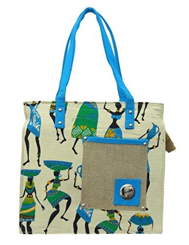 """Baumwolle Jute Stammes Druck Frauen Handtaschen beiläufige Schulter Dame Strand Einkaufstasche 13,5"""" x 12,5"""" Zoll Beige und Blau"""