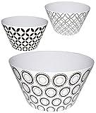 Unbekannt 3 Stück _  Retro Design Muster - weiß  - kleine Schalen / Kunststoffschalen / Schüsseln - Popcornschalen - HOCH - aus Melamin / Kunststoff Plastik - für Erw..