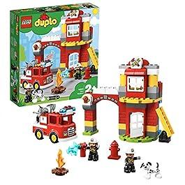 LEGO Duplo Caserma dei Pompieri con Luci e Sirena, Idea Regalo per Bambini dai 2 Anni per Diventare