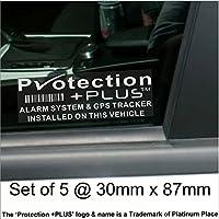 x 5 PROTECTION PLUS d'alarme et un dispositif de repérage GPS de fenetre 87 x 30 mm voiture, Van avertissement Tracker Signs Platinum Place le droit d'auteur de la marque