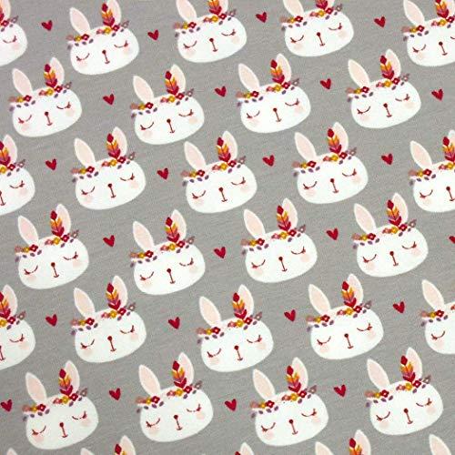 Baumwolle Elasthan Terry (0,5m French Terry Boho Hase grau 95% Baumwolle 5% Elasthan Meterware 140cm breit Gewicht: 250g/m2)