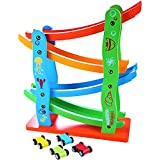 MousePotato Colourful Wooden Track Race Set with 4 Colourful Miniature Cars Sliding Track Racer