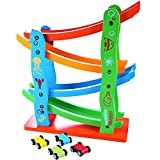 #7: MousePotato Colourful Wooden Track Race Set with 4 Colourful Miniature Cars Sliding Track Racer
