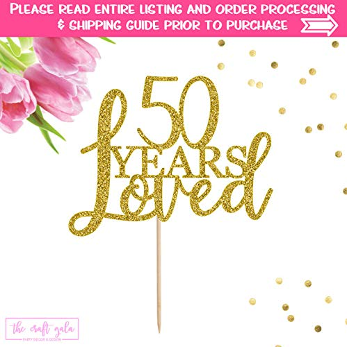 (76DinahJordan 50. Birthday Cake Topper 50 Jahren Loved Kuchendekoration 50. Birthday Cake Topper 50. Geburtstag Decor Geburtstag Happy 50th Birthday 50)