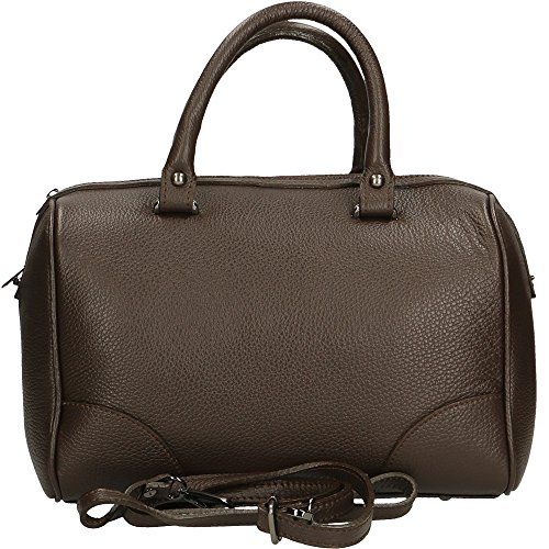 Damen Ledertasche, Henkeltasche, Trend-Tasche, Schultertasche, Hergestellt in Italien, 33x24x18 (Bordo/rosso) Tmoro/Taupe