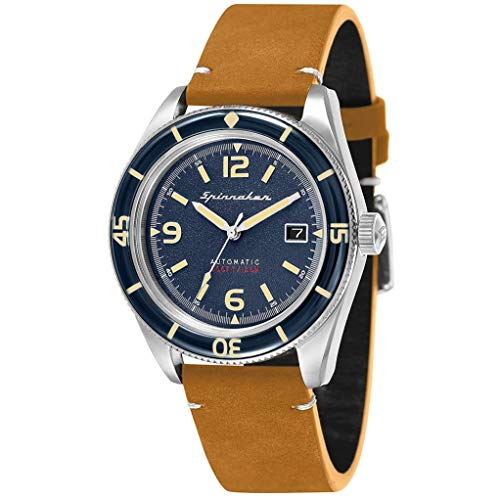 SPINNAKER Men's Fleuss 43mm Leather Band Steel Case Automatic Watch SP-5055-05