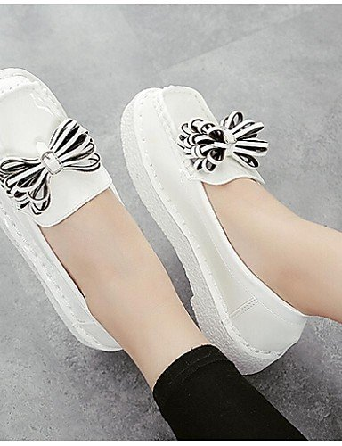 ZQ gyht Scarpe Donna - Mocassini - Casual - Punta arrotondata/Chiusa - Piatto - Finta pelle - Nero/Bianco , white-us8 / eu39 / uk6 / cn39 , white-us8 / eu39 / uk6 / cn39 white-us6 / eu36 / uk4 / cn36