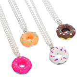 Queenbox® 4PCs Adjustable Sweet Donut Colorful Pendant Necklaces Set for Kids Best Friends Gift Present