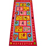 Amy & Delle Hopscotch Rug Play Carpet – Educational and Fun Kid's Mat for Bedroom, Nursery and Classroom – 10 Numbered Squares - Colorful Flower Design