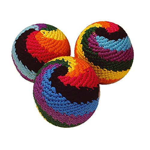 Sport-Thieme Footbag Set Rasta Rainbow | 3X Bean-Bags, Jonglierbälle, Kickbälle im Rasta-Look | Gehäkelte Baumwolle mit Granulatfüllung | 30 g | ø 5,5 cm | Markenqualität