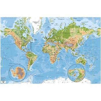 Carte Murale du Monde Physique et des Oceans 3 x 2m