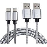 MyGadget 1M Typ C Nylon Kabel - Datenkabel für USB C Geräte - Type C Ladekabel für z.B. Samsung Galaxy S8, MacBook, Huawei P9/ P10, HTC 10 in Silber