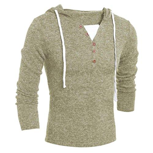 Xinan Herren Hoodie Herbst Winter Männer Mode Kapuzen Pullover Top Bluse (XL, Beige)