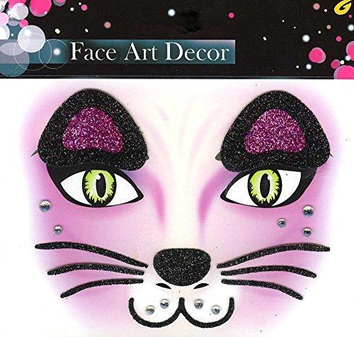Face Art Decor Glitzer Tattoo Sticker Katze - -