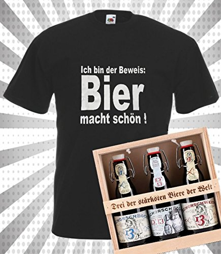 Männergeschenk T-Shirt & 3 der stärksten Biere der Welt in Geschenkbox|XL