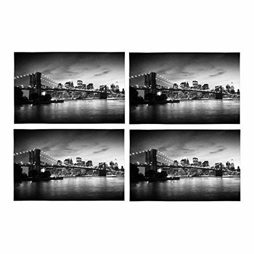 InterestPrint Pont de Brooklyn Manhattan Coucher de Soleil New York de Cuisine Lot DE 4 Sets de Table Sets de Table, Set de Table pour Table de Salle à Manger Restaurant Home Decor 30,5 x 45,7 cm