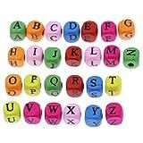 200Stück Farbe sortiert Alphabet A-Z Cube Holz Perlen Spacer Perlen für selbstgemachten Schmuck...
