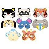 #5: Rrimin 10PCS Assorted EVA Foam Animal Masks for Kids Birthday Party(Color Random )