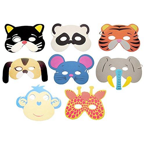 everpert 10pcs varios colores EVA espuma Máscaras de animales para niños fiesta de cumpleaños